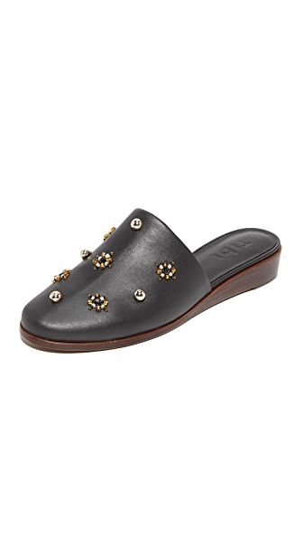 Tibi Kirsi Beaded Demi Wedge Slides - Black