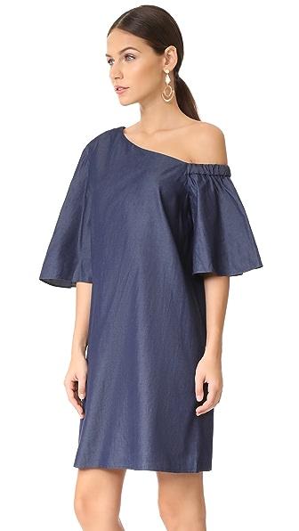 6b9aef57fe Tibi One Shoulder Bell Sleeve Dress