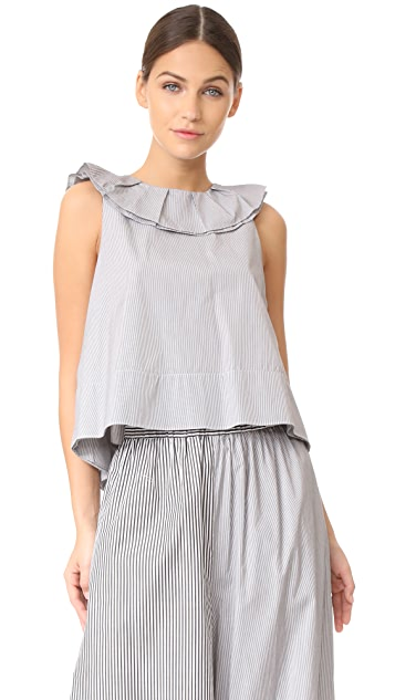 Tibi Ruffle Strappy Top with Tie Detail