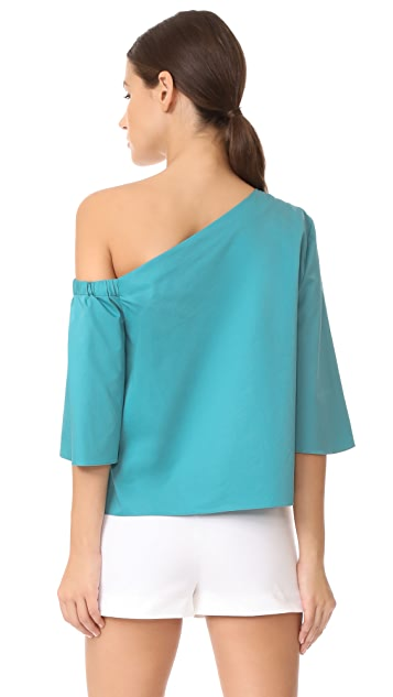 Tibi One Shoulder Bell Sleeve Top