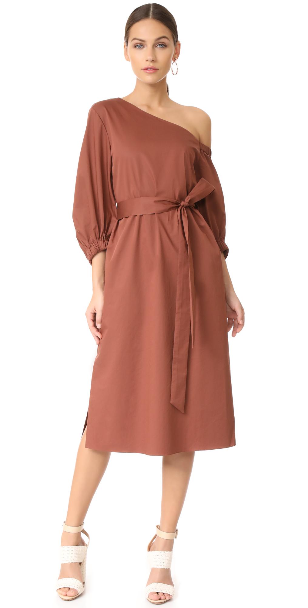 Midi One Shoulder Dress Tibi