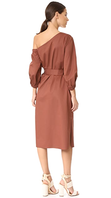 Tibi Midi One Shoulder Dress