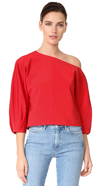 Tibi Sculpted Sleeve One Shoulder Top - Elia Red