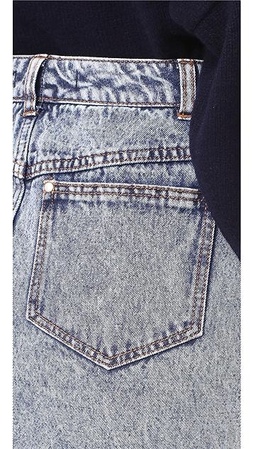 Tibi Acid Wash Denim Miniskirt