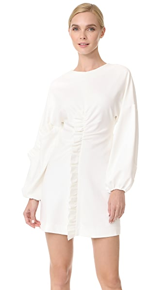 Tibi Ruffle Detail Mini Dress - White