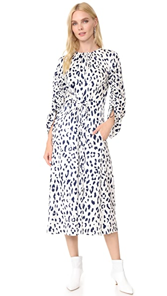 Tibi Sculpted Sleeve Dress - Ivory/Navy Multi