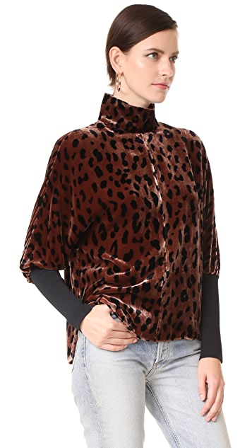 Tibi Dolman Easy T Neck Velvet Top