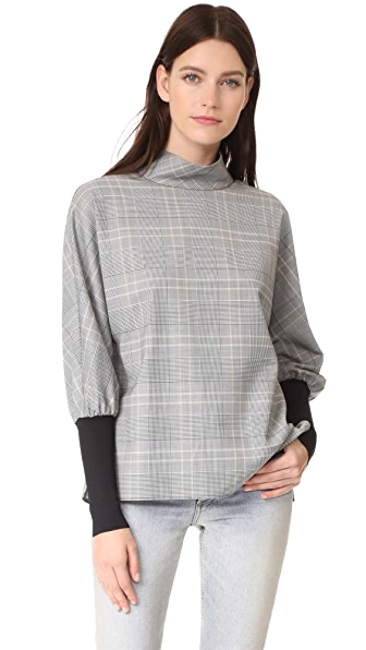 Tibi Easy Dolman Ribbed Top - Handloom/Grey Multi