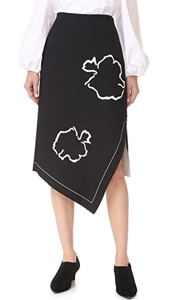 Tibi Asymmetrical Pencil Skirt - Black/Ivory Multi
