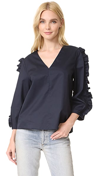 Tibi V Neck Ruffle Top