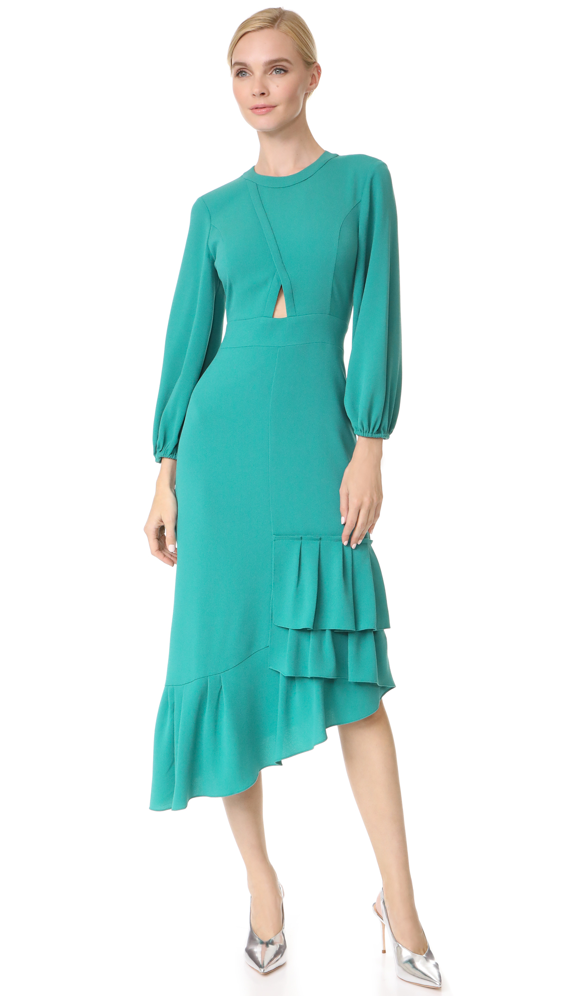 Tibi Cutout Ruffle Dress