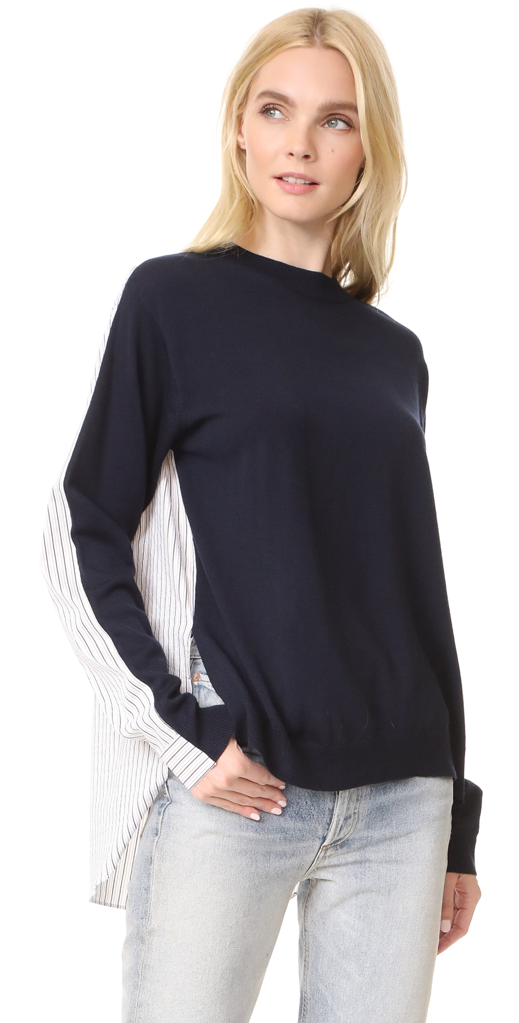 Striped Shirting Combo Pullover Tibi