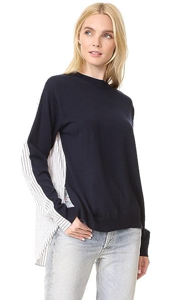 Tibi Striped Shirting Combo Pullover