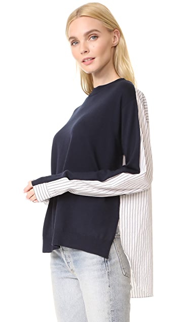 Tibi Striped Shirting Combo Pullover