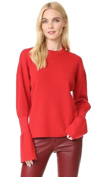 Tibi Rib Detail Sleeve Easy Pullover In Ribbon Red