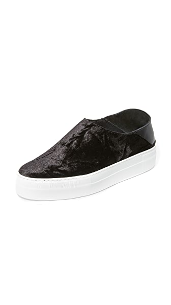Tibi Charlie Velvet Mule Sneakers - Black