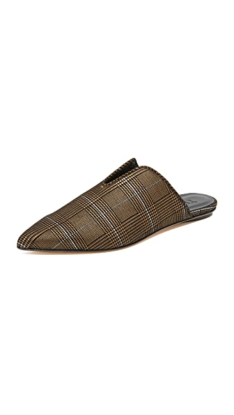 Tibi Cacey Houndstooth Mules - Plaid