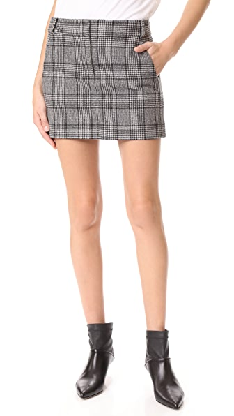 Tibi Aldrige Tweed Mini Skirt - Black Multi
