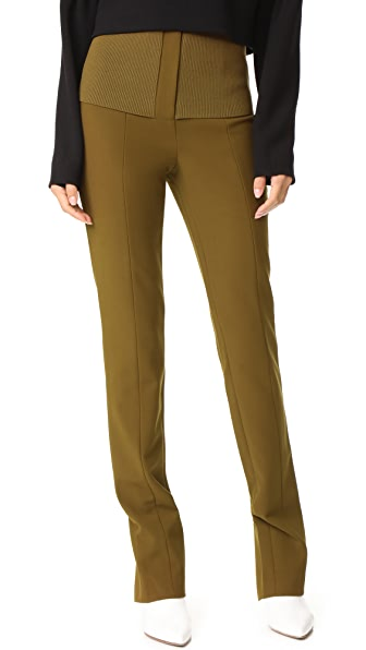 Tibi Camille High Waist Skinny Pants In Loden