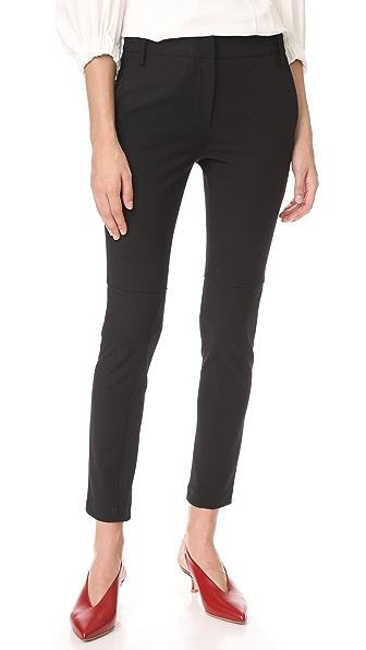 Tibi Low Rise Skinny Pants with Rib Inserts - Black