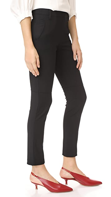 Tibi Low Rise Skinny Pants with Rib Inserts