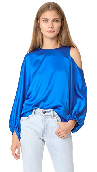 Tibi Celestia One Shoulder Top - Elbe Blue