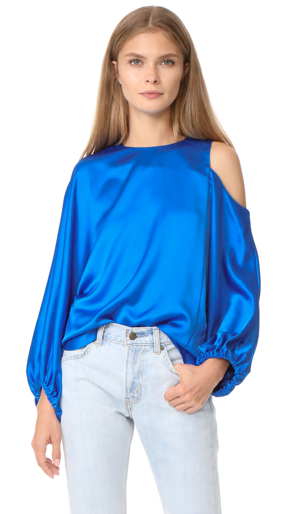 Tibi Celestia One Shoulder Top - Elbe Blue