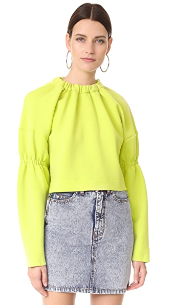 Tibi Oversized Bolero Sweatshirt - Chartreuse