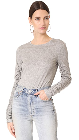Tibi Ruched Long Sleeve Tee