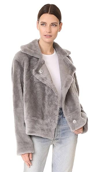 Tibi Shearling Aviator Jacket - Ice Grey