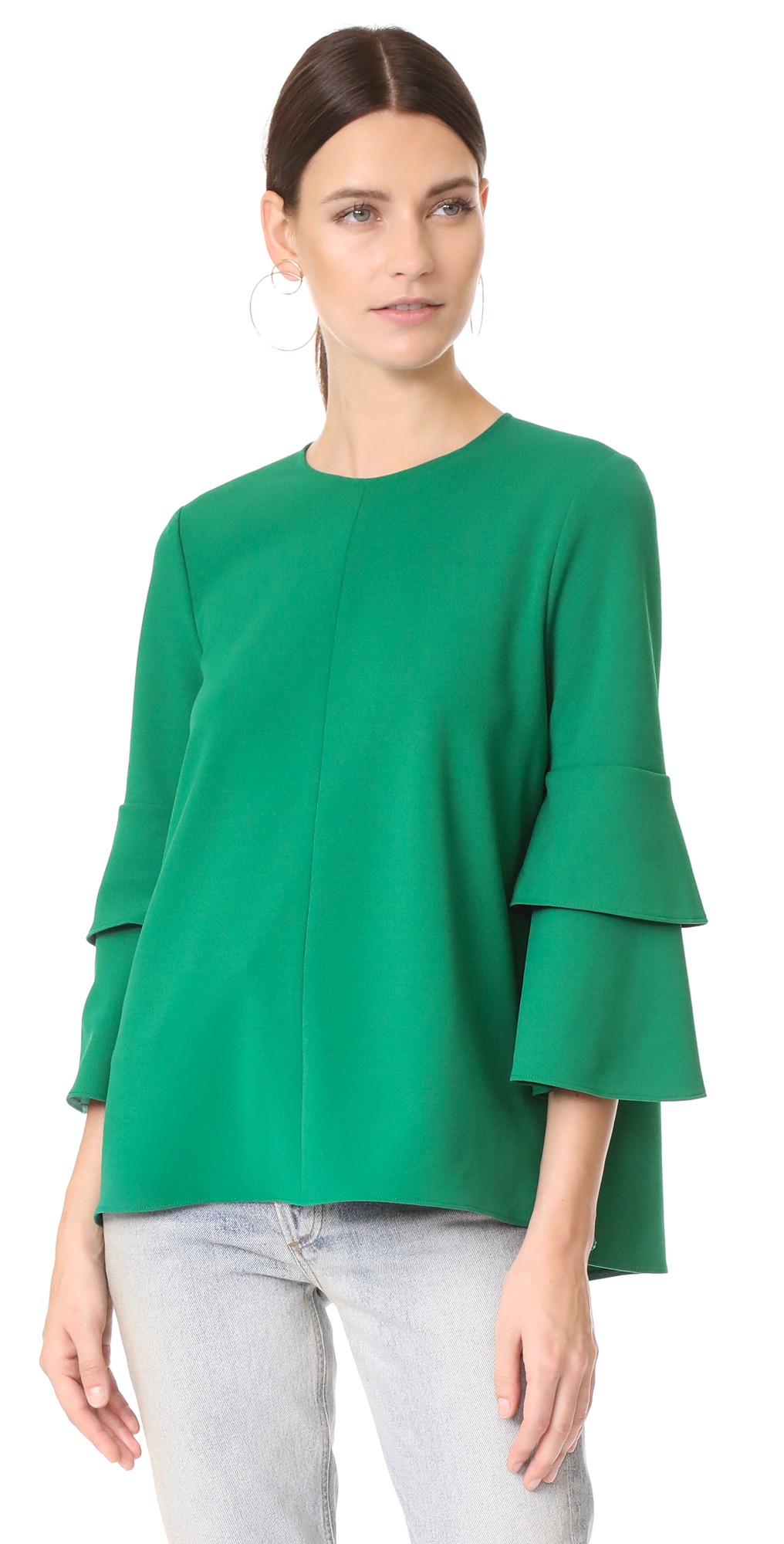 Structured Crepe Bell Sleeve Top Tibi