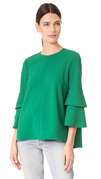 Tibi Structured Crepe Bell Sleeve Top - Midori Green