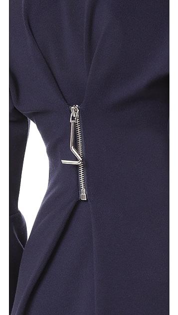 Tibi Sculpted Wool Dress with Zip Detail