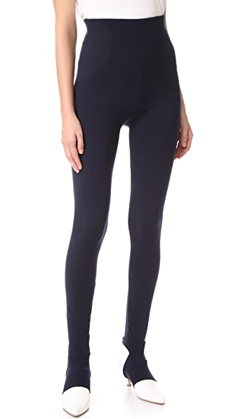 Tibi Rib Cuff Detail Leggings - Navy