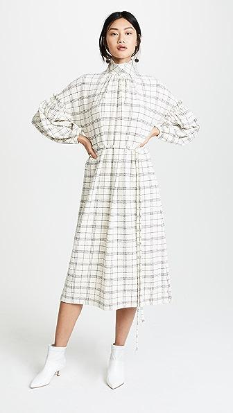 Tibi Mini Ruffle Detail Check Dress