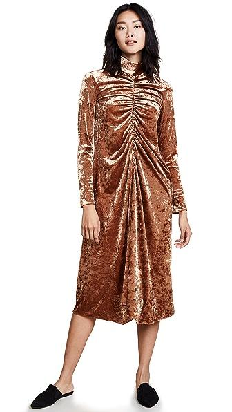 Tibi Fluid Dress In Rust