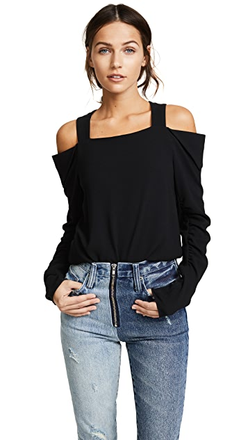 Tibi Open Shoulder Shirred Sleeve Top
