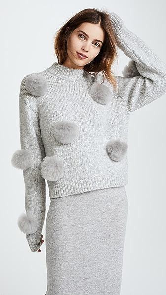 Tibi Cropped Alpaca Pom Pom Sweater