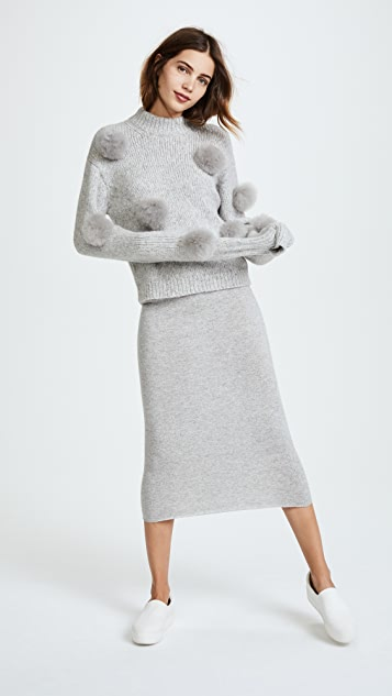 Tibi Cropped Alpaca Pom Pom Sweater