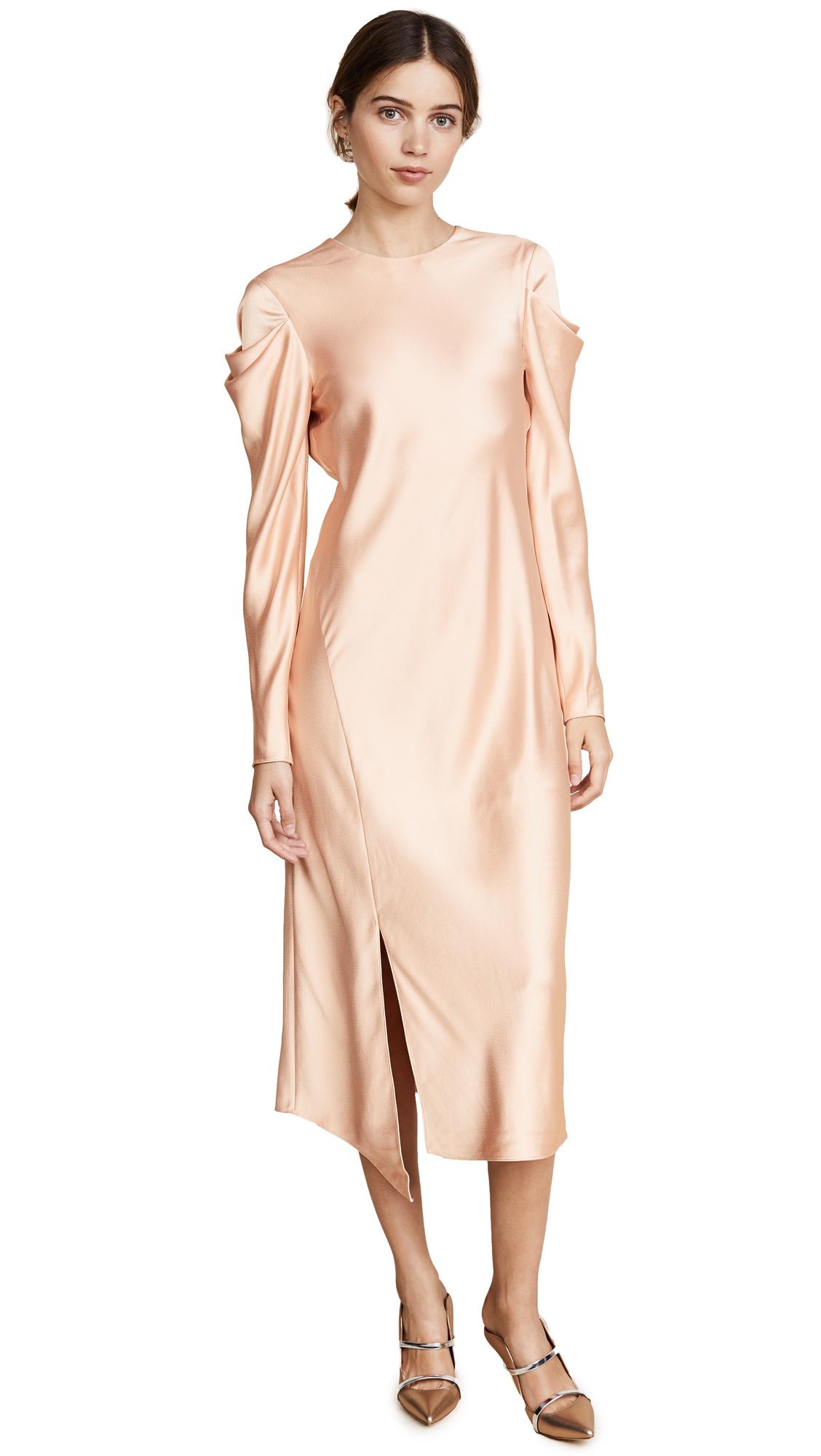 Tibi Drape Sleeve Satin Dress