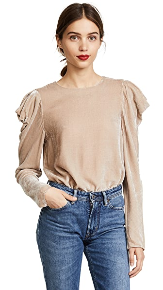 Tibi Velvet Drape Sleeve Top In Marble
