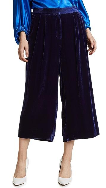 Tibi Stella Wide Leg Velvet Culottes
