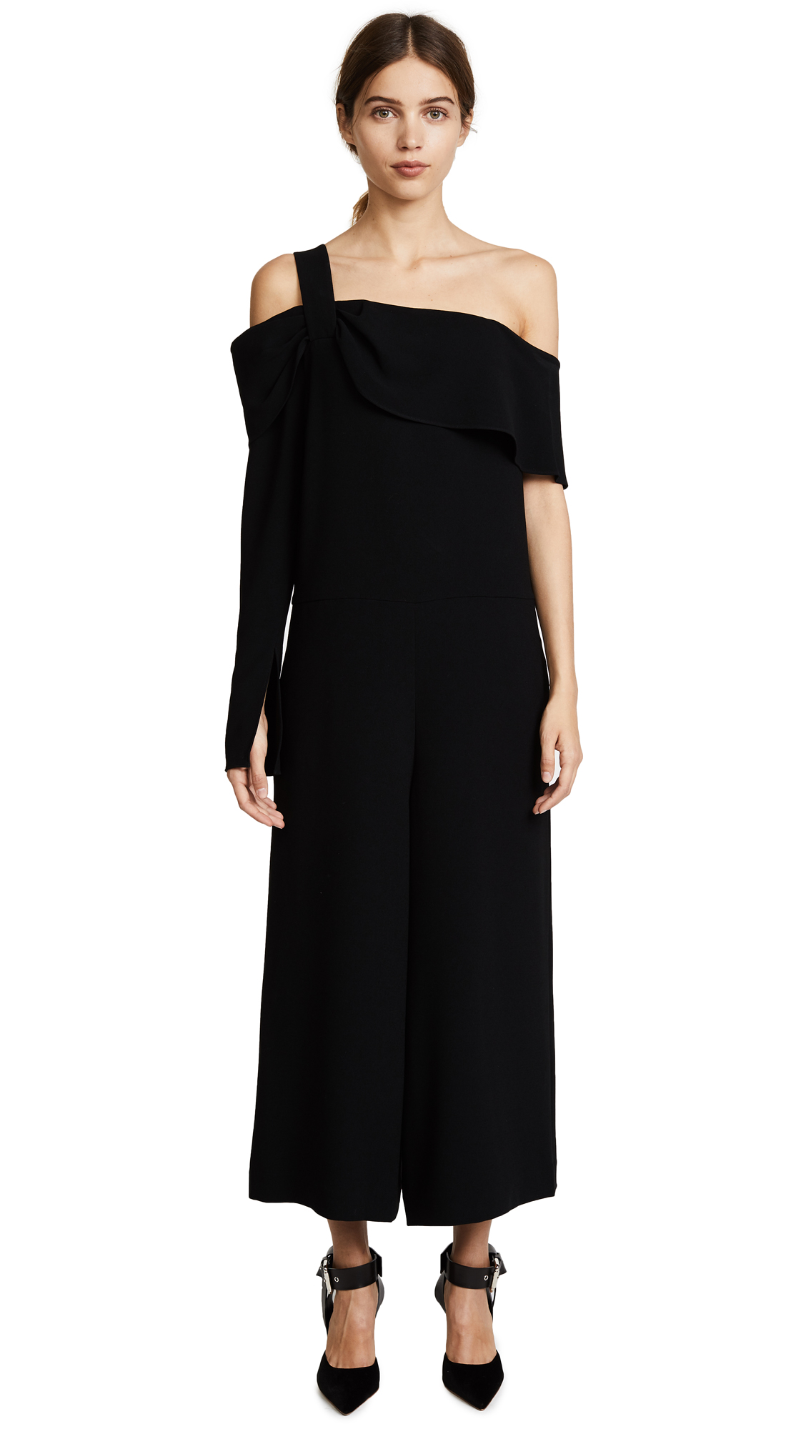 Tibi One Shoulder Draped Jumpsuit - Black