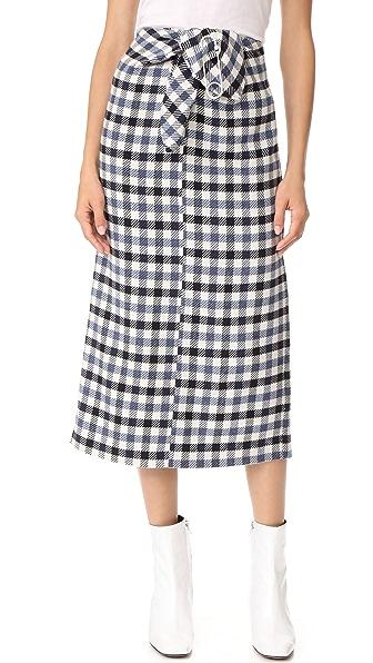 Tibi Tie Front Skirt In Blue Multi