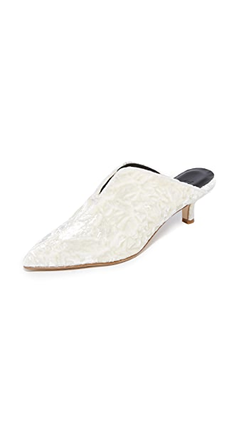 Tibi Dana Mule Pumps In Ivory