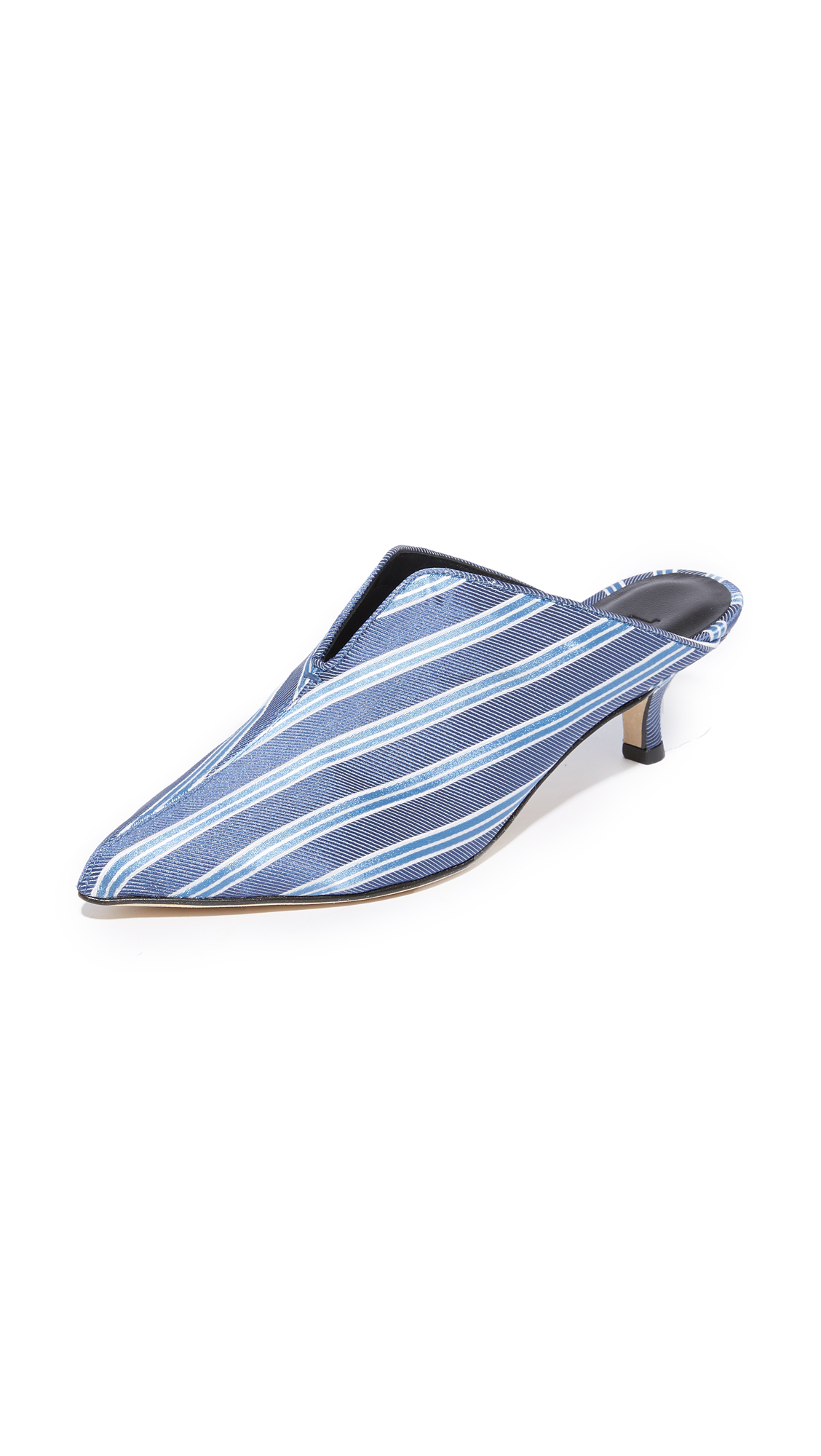 Tibi Dana Mule Pumps - Blue Stripe