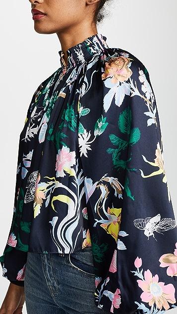 Tibi Gothic Floral Cropped Edwardian Top