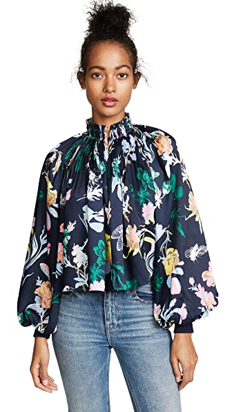 Tibi Gothic Floral Cropped Edwardian Top In Navy Multi
