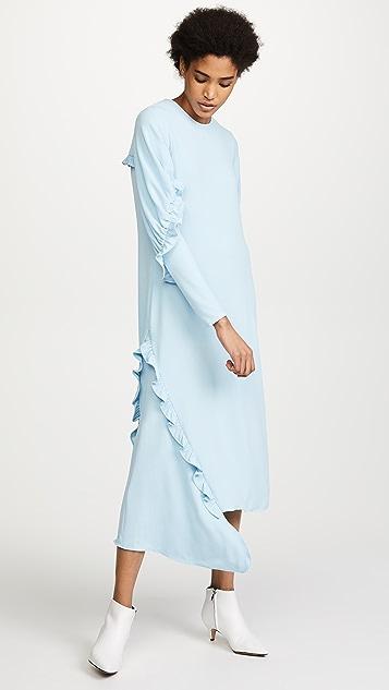 Tibi Ruched Long Sleeve Ruffle Dress