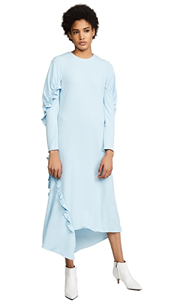 Tibi Ruched Long Sleeve Ruffle Dress In Baby Blue